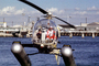 Santa Claus Delivering Presents, N9763Z, Bell 47G-2, pontoons, floats, San Pedro, 1978, 1970's, TAHV04P06_12