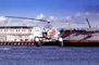 Santa Claus Delivering Presents, N9763Z, Bell 47G-2, pontoons, floats, San Pedro, 1978, 1970's, TAHV04P06_14