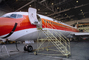 N554PS, PSA, Pacific Southwest Airlines, Boeing 727-214A, Hangar, Mobile Stairs, Rampstairs, ramp, JT8D, 727-200 series, Smileliner, TAOV01P03_05