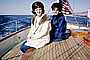 Two Women on a Boat, Smiles, Teak, Coats, Formal, Newport, Rhode Island, bouffant, 1964, 1960's
