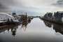Petaluma River, calm, still, reflection, tugboat, pusher tug, buildings, TSWD01_294