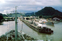 Atlantic Baroness, Locks, Mules, buildings, mountain, crane, Pedro Miguel Locks, 1966, 1960's