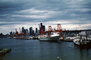 Skyline, clouds, Seattle Harbor, Gantry Crane, Dock, Harbor, TSWV04P04_10
