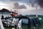 Barber Nara, Barber Blue Sea, Gatun Lock, Upper Northbound Range Lighthouse, redboat, redhull, Dramatic Clouds, TSWV09P09_08