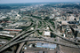 Interstate Highway I-75, I-71, Interchange, Maze, tangle, overpass, underpass, intersection, highway, exit, entrance, entry, Cincinnati, skyline, urban, VARV03P04_04