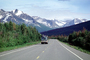 Bus on the Highway, Chugach Mountains, forest, highway-4