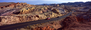 Valley of Fire, east of Las Vegas Nevada, Road, Roadway, Highway, Panorama, Cars, automobiles, vehicles