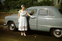 Woman, Formal Dress, 1950 Ford Custom Coupe, Car, 2-door, 1950's