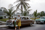 Mother and Daughter, Ford Car, Oldsmobile, Palm Trees, 1950's, VCRV23P13_01