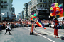 Rainbow Balloons, crowds, downtown-SF, clowns, Powell Street at Union Square, Cable Car celebration June 21 1984, 1980's, VRCV01P03_18