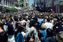 Crowds, Crowded, Girl Looking Up, Union Square, Celebration, Downtown, Throngs, Hoards, Packed People, Powell Street, downtown-SF, CC celebration June 21 1984, 1980's, VRCV01P04_08