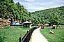 Conrail, Horseshoe Curve National Historic Landmark, Altoona, Allegheny Mountains, path, lawn, trees, forest, VRFV06P14_01